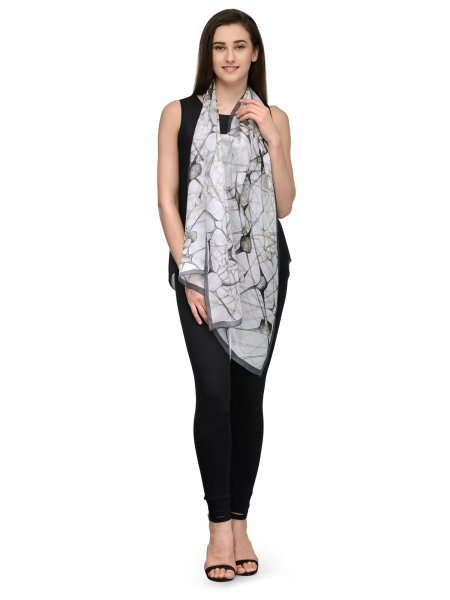 BLACK AND WHITE  CONTEMPORARY SILK CHIFFON