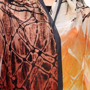 ORANGE  AND BLACK CONTEMPORARY SILK CHIFFON