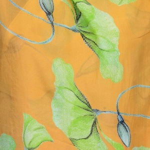 ORANGE AND YELLOW   FLORA FAUNA SILK CHIFFON