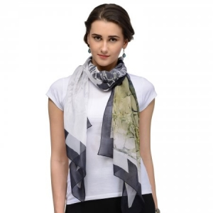 OLIVE GREEN  CONTEMPORARY CHIFFON STOLE