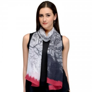 BLACK AND RED CONTEMPORARY CHIFFON STOLE