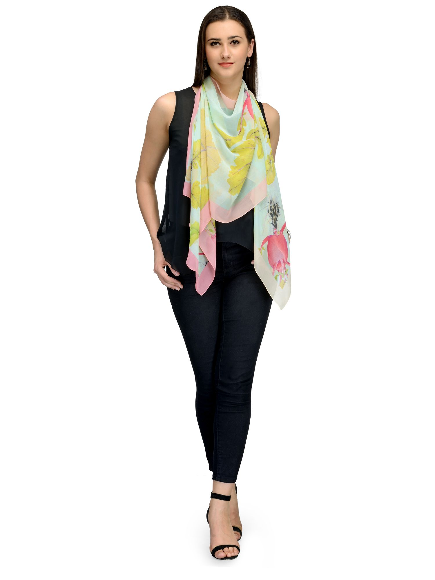 best website dd556 75cca SEA GREEN FLORA FAUNA CHIFFON STOLE