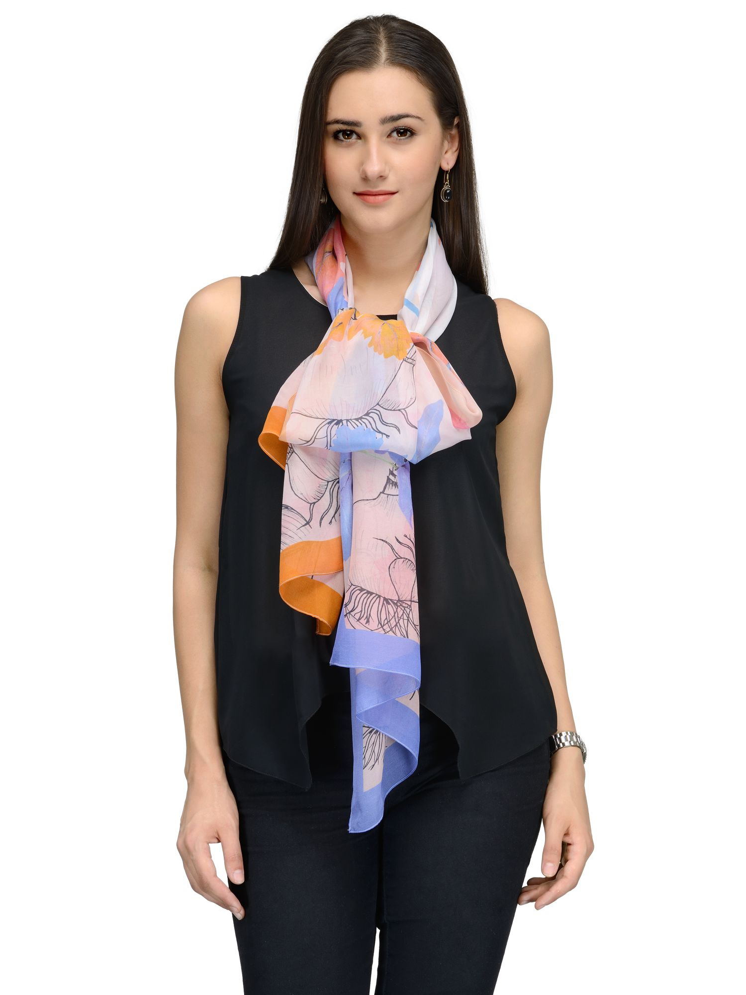buy online 8d233 e9899 BLUE ORANGE FLORA FAUNA CHIFFON STOLE