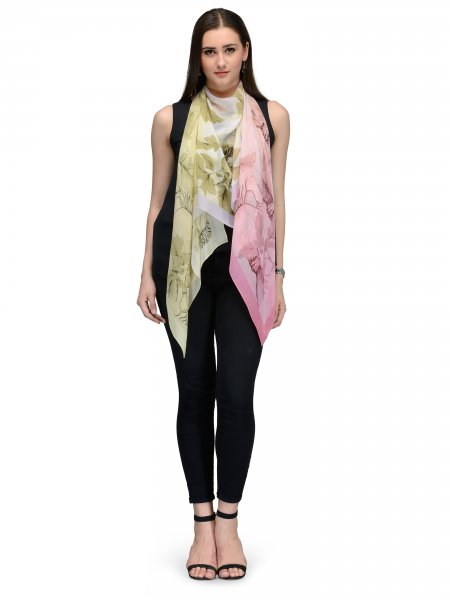 PINK AND GOLD FLORA FAUNA CHIFFON STOLE