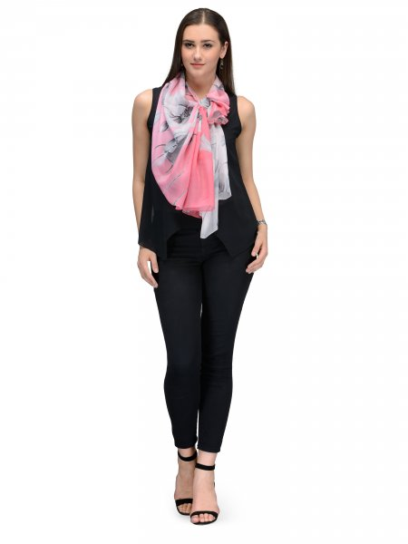 PINK AND BLACK  FLORA FAUNA CHIFFON STOLE