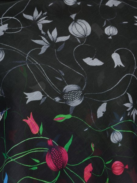 BLACK ORIENTAL COTTON SILK SCARF