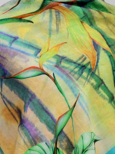 GREEN FLORA FAUNA  COTTON SILK SCARF