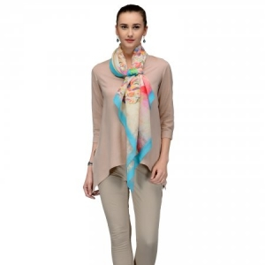 CREAME BLUE CONTEMPORARY COTTON SILK SCARF