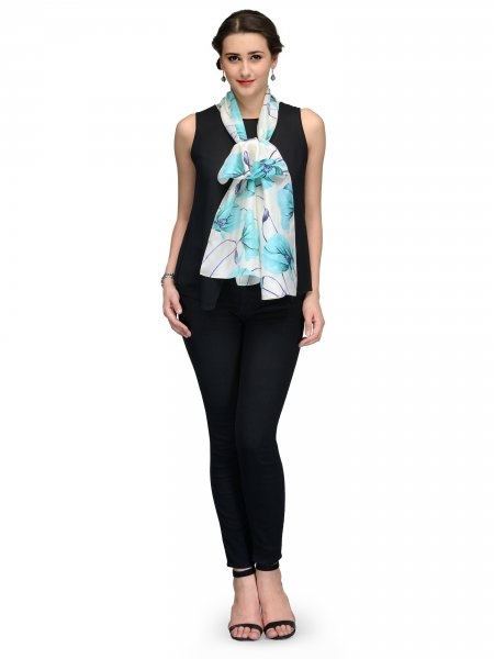 OFFWHITE AND BLUE FLORAL SILK STOLE