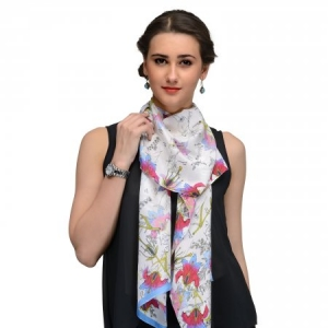OFFWHITE  AND BLUE AND RED FLORAL SILK STOLE