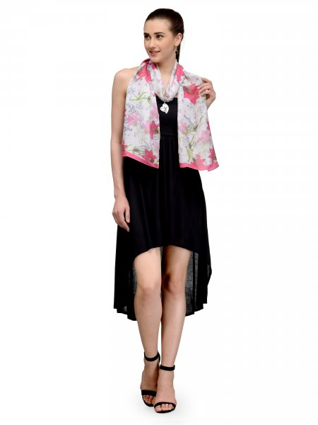 OFFWHITE AND PINK FLORAL SILK STOLE