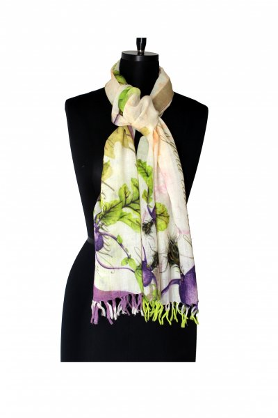 PURPLE GREEN WOOLLEN STOLE