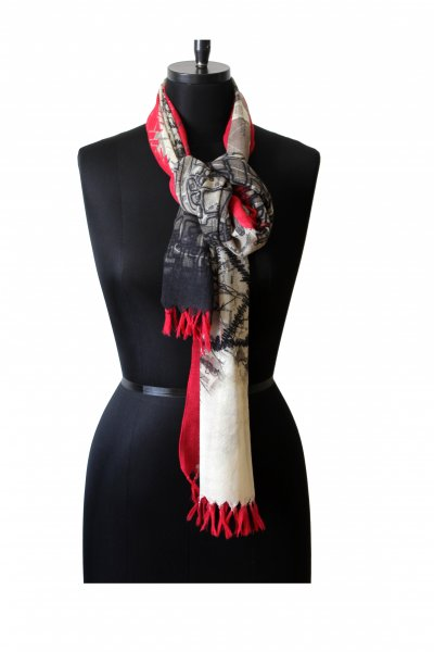 RED BLACK WOOLLEN STOLE